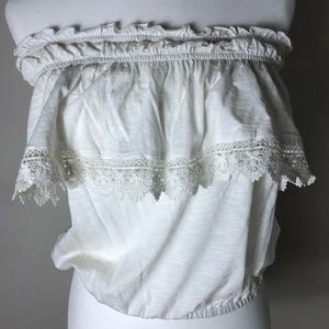 Off the shoulder white lace tube top